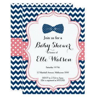 Marine et invitation de baby shower d'arcs de rose