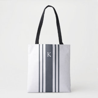 Marine et monogramme blanc de rayure de Grainsack Tote Bag