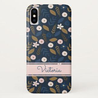 Marine, rose, cas floral de l'iPhone X de Coque iPhone X