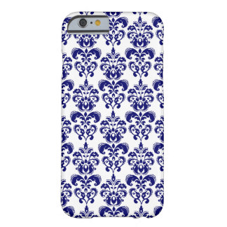 Marineblauw, Wit Vintage Patroon 2 van het Damast Barely There iPhone 6 Hoesje