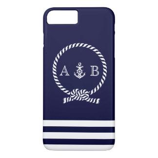 Marineblauw ZeevaartKabel en Anker Met monogram iPhone 8 Plus / 7 Plus Hoesje