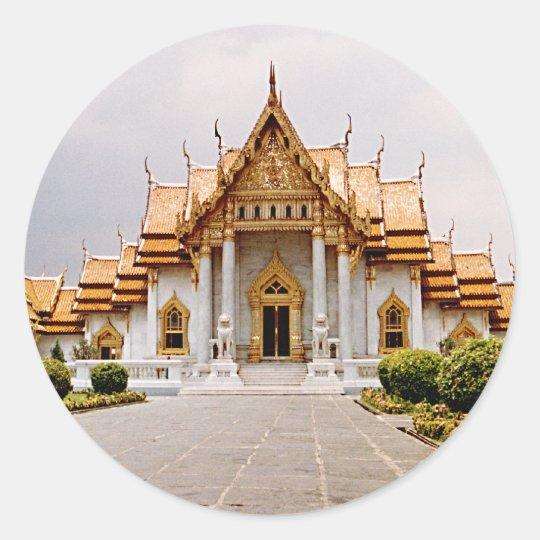 Marmeren Tempel van Goud over het Khmer Label van Ronde Sticker