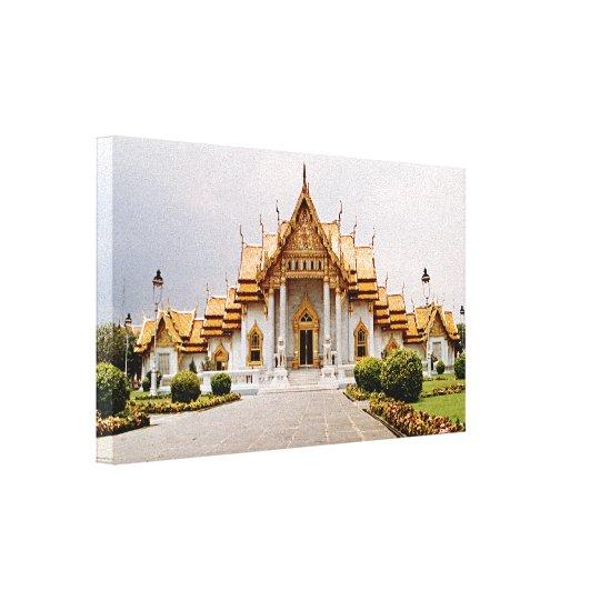 Marmeren Tempel van Goud over Khmer Leeuw Canvas Print