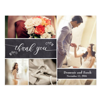 Marqué à la craie, Merci rustique de mariage de Cartes Postales