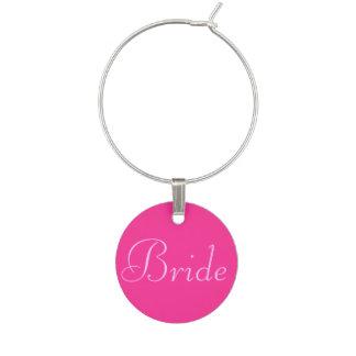 Marque-verres Étiquette rose de marque - verre de jeune mariée