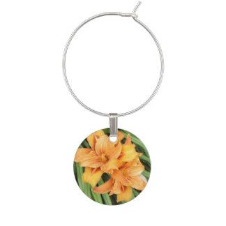 Marque-verres Nature florale de Daylilies oranges