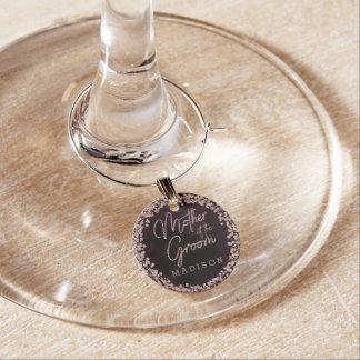 Marque-verres Vin de Bourgogne et mère rose d'or du marié
