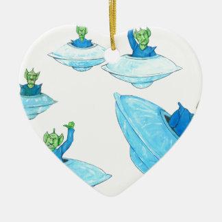 Martien fâchés et fâchés ornement cœur en céramique
