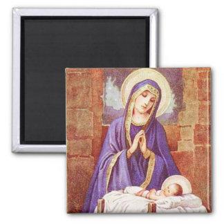Mary avec Jésus dans l'aimant de cru de Manger Aimant