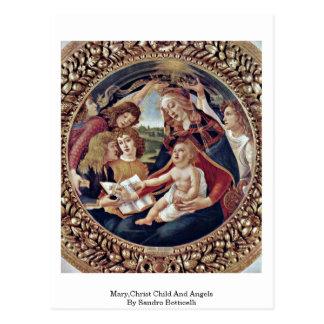 Mary, enfant du Christ et anges par Sandro Carte Postale