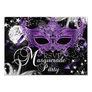 Mascarade pourpre argentée RSVP de nuit d'étoile Carton D'invitation 8,89 Cm X 12,70 Cm