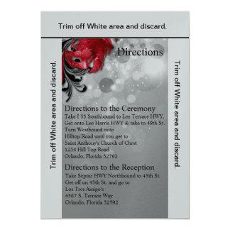 mascarade rouge de carte des directions 3.5x6