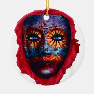 Masque Mystérieux - Mystery Mask Ornement Rond En Céramique