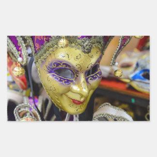 Masques de carnaval à Venise Italie Sticker Rectangulaire
