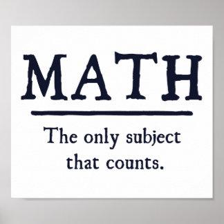 Maths le seul sujet qui compte poster