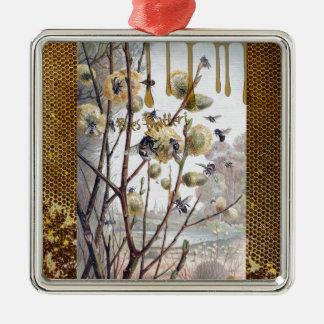 Matière d'abeilles ornement carré argenté