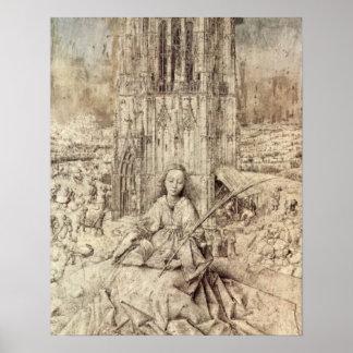 Matrijs St. Barbara door Jan van Eyck Afdruk