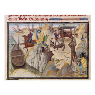 Maugis combattant le serpent carte postale