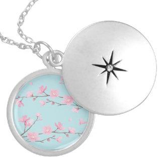 Médaillon Avec Fermoir Fleurs de cerisier - bleu de ciel