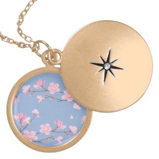 Médaillon Avec Fermoir Fleurs de cerisier - bleu de sérénité