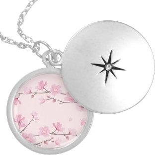 Médaillon Avec Fermoir Fleurs de cerisier - rose