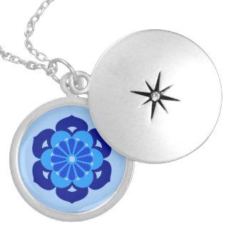 Médaillon Avec Fermoir Mandala, indigo et bleu-clair de fleur de Lotus