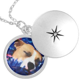 Médaillon Avec Fermoir Pitbull Terrier américain de chien patriotique des