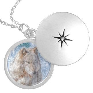 Médaillon Avec Fermoir Portrait blanc de faune de loup gris