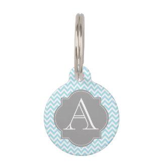 Médaillon Pour Animaux Bleu et gris d'étiquette d'animal familier de