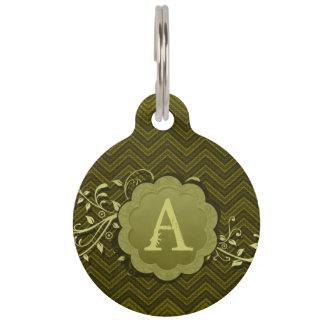 Médaillon Pour Animaux Chevron kaki sur la toile de jute avec le