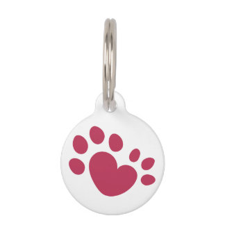 Médaillon Pour Animaux Coeur Polydactyl d'empreinte de patte de chat