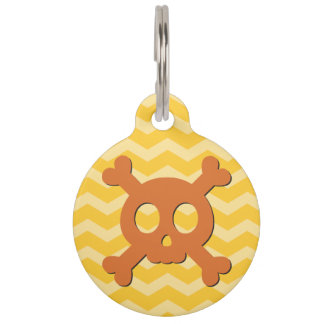 Médaillon Pour Animaux Crâne orange mignon et Crossbone