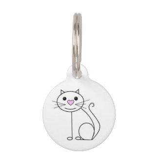 Médaillon Pour Animaux Étiquette mignonne de nom de chat avec des détails
