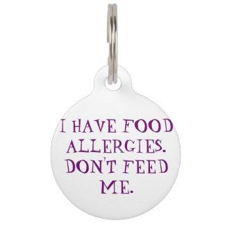 Médaillon Pour Animaux Étiquette vigilante médicale d'allergies