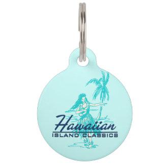 Médaillon Pour Animaux Fille de danse polynésienne d'île hawaïenne de