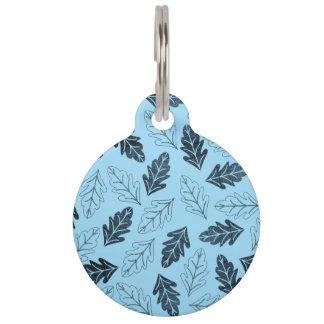 Médaillon Pour Animaux Marine et motif bleu en pastel de feuille