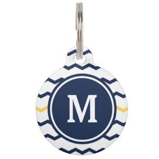 Médaillon Pour Animaux Monogramme de Chevron de bleu marine