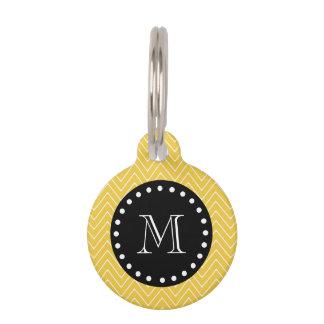 Médaillon Pour Animaux Monogramme noir jaune du motif | de Chevron