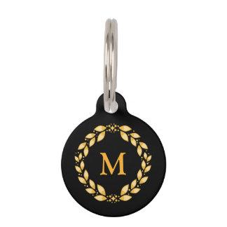Médaillon Pour Animaux Monogramme romain Leaved d'or fleuri de guirlande