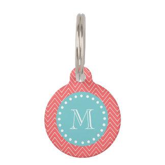 Médaillon Pour Animaux Monogramme turquoise de corail du motif | de