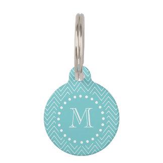 Médaillon Pour Animaux Monogramme turquoise turquoise du motif | de