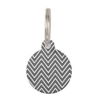 Médaillon Pour Animaux Motif 2 de Chevron de gris de charbon de bois