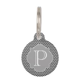 Médaillon Pour Animaux Noir et gris d'étiquette d'animal familier de