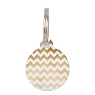 Médaillon Pour Animaux or élégant de faux et motif blanc de chevron