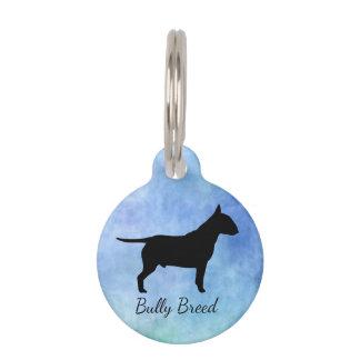Médaillon Pour Animaux Petite étiquette texturisée bleue de nom d'animal