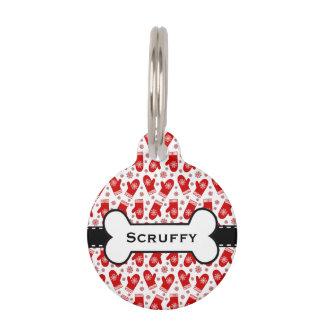 Médaillon Pour Animaux Rétros vacances de ski de Noël de mitaines et de