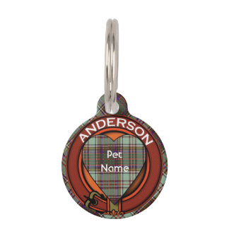 Médaillon Pour Animaux Tartan d'écossais de plaid de clan d'Anderson