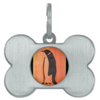 Médaillons Pour Animaux Domestiques Pingouin sur l'orange