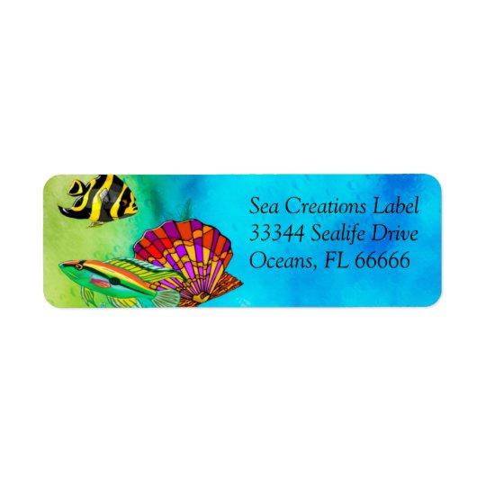 Médias mélangés de créations de mer étiquette d'adresse retour