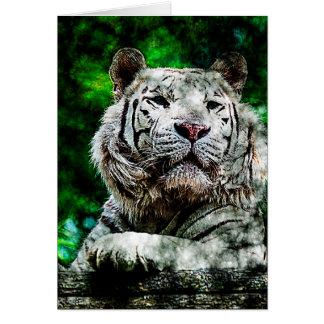 Médias mélangés de tigre blanc (v2) carte de vœux